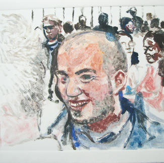 Shaved Boy 2 Monotype - 15,5x20cm - Marc GOLDSTAIN 2014 - Oil On Paper - Portraits - Street Life