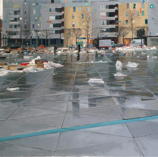 Great Cleaning In Vitry - 130x197cm - Marc GOLDSTAIN 2006 - Oil On Canvas - Paris Suburb - Urban Landscape - Waste - Open Air Market - Contemporary Painting
