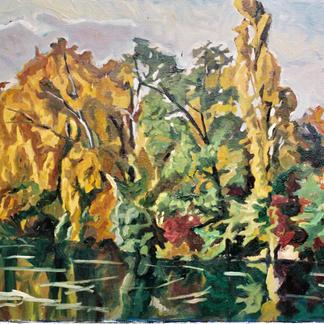 Edges Of The Marne 2 - Marc GOLDSTAIN 1992 1993 - Oil On Canvas - Autumn Trees