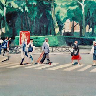 Pedestrians Crossing - Marc GOLDSTAIN 1999 - Oil On Canvas - Paris - Canal St Martin - Urban Landscape - Contemporary Art - Realistic Painting