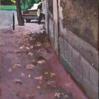 Passer By In The Bend - 24x15cm - Marc GOLDSTAIN 2004 - Acrylic On Panel -  - Urban Landscape - Sidewalk - Paris Suburbs - Realistic Painting - Contemporary Art