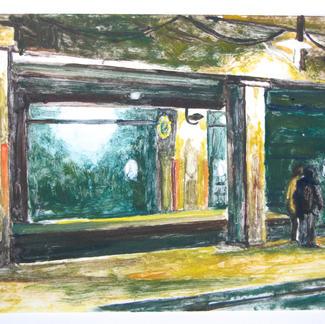 The Hour 1 Monotype - 15,5x20cm - Marc GOLDSTAIN 2014 - Oil On Paper - Train Station - Urban Landscape