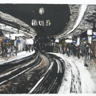 Cite U Paris Black Monotype - 15x20cm - Marc GOLDSTAIN 2014 - Oil On Paper - Metro Station - Urban Landscape