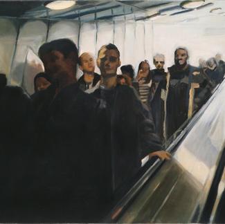 Descent Les Halles - Marc GOLDSTAIN 1998 - Oil On Canvas - Paris - 65X100Cm