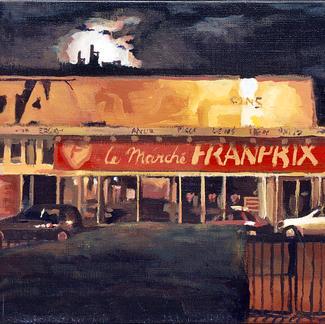 Franprix At Night - 30x40cm - Marc GOLDSTAIN 2002 - Oil On Canvas - Paris Suburb - Urban Landscape - Contemporary Painting