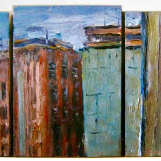 Moulin De Pantin - Marc GOLDSTAIN 1995 1996 - Oil On Panel - Triptyque - Canal De L Ourq