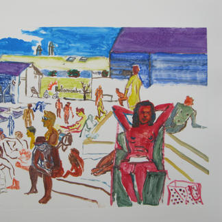 Heliomonde With Sabine 1 - Marc GOLDSTAIN 2014 - Colored Monotype - Natural Life - Contemporary Art