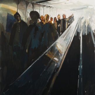 Descent 3 - 195x130cm - Marc GOLDSTAIN 2007 - Oil On Canvas - Chatelet - Urban Life - Paris Subway - Rer - Comtemporary Painting