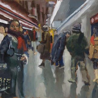 Rer Station With Passengers Study - 27x35cm - Marc GOLDSTAIN 2009 - Oil On Canvas - Urban Landscape - Paris Subway - Passengers - Rer - Metro - Comtemporary Painting