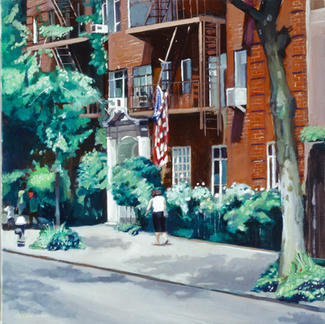 The Flag - 50x50cm - Marc GOLDSTAIN 2002 - Oil On Canvas - New York - Manhattan - Passer By - Urban Landscape - Sidewalk - Trees - Realistic Painting - Red Brick Building Contemporary Art