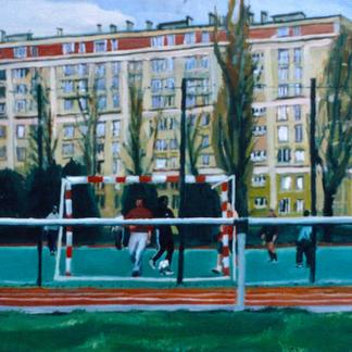 Footballers - Marc GOLDSTAIN 1998 - Oil On Panel - Paris