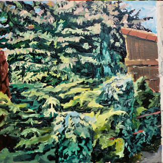 Edges Of The Property 2 - Marc GOLDSTAIN 1992 1993 - Oil On Wood - Trees