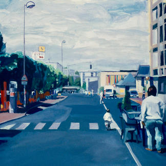 Joué Les Tours - 65x92cm - Marc GOLDSTAIN 2002 - Acrylic On Canvas - Party - Urban Landscape - Contemporary Painting