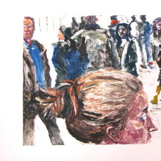 Bun Girl 2 Monotype - 15x20cm - Marc GOLDSTAIN 2014 - Oil On Paper - Portraits - Street Life