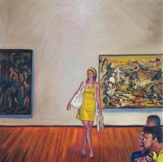 Moma S Girl - 55x46cm - Marc GOLDSTAIN 2009 - Oil On Canvas - Urban Landscape - Realistic Painting - Woman Portrait - Museum - Pollock