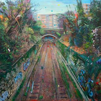 Petite Ceinture Paris Wasteland - 130x162cm - Marc GOLDSTAIN 2013 - Oil On Canvas - Architecture - Building - Railroad Track - Paris - Urban Landscape - Contemporary Painting