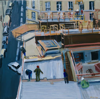 Work Site On Paris Roof Anvers - Marc GOLDSTAIN 2001 - Acrylic On Canvas - Urban Landscape - Workers - Realistic Painting - Contemporary Art