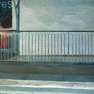 Ingres Line 6 - 89x116cm - Marc GOLDSTAIN 2007 - Oil On Canvas - Urban Life - White Wall - Paris Subway - Comtemporary Painting