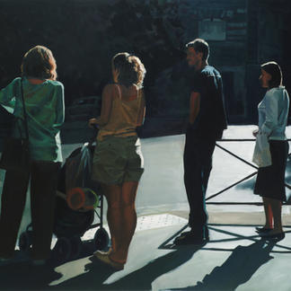 Convention Iii - 114x146cm - Marc GOLDSTAIN 2007 - Oil On Canvas - Passers - By Shadow - Pedestrians Crossing - Realistic Painting - Contemporary Art