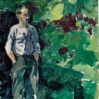 Henry In The Leaves - Marc GOLDSTAIN 1992 1993 - Oil On Isorel - Portrait.Jpg