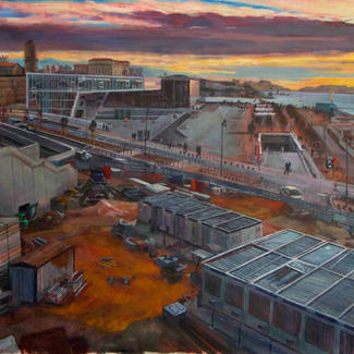 J4 - 130x162cm - Marc GOLDSTAIN 2012 - Acrylic On Canvas - Marseille - Worksite - Urban Landscape - Contemporary Painting