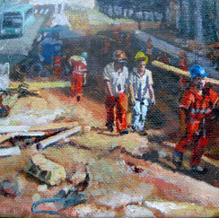fourteen knight- belo horizonte- acryl on canvas- worksite-workers-brasil- contemporary pa