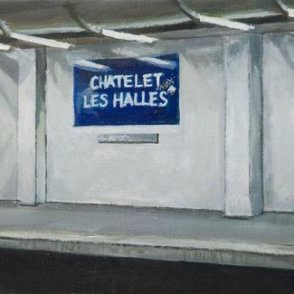 Chatelet Les Halles Station - 50x150cm - Marc GOLDSTAIN 2011 - Oil On Canvas - Urban Landscape - Paris Subway - Rer - Comtemporary Painting