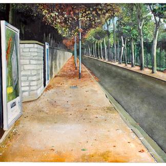 St. Maur Stadium Street South - 114x146cm - Marc GOLDSTAIN 2005 - Oil On Canvas - Urban Landscape - Sidewalk - Paris Suburbs - Realistic Painting - Contemporary Art