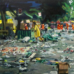 Sos Belo Horizonte - 50x100cm - Marc GOLDSTAIN 2013 - Oil On Canvas - Street Cleaners