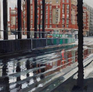 Under The Bridge Balard - 73x116cm - Marc GOLDSTAIN 2009 - Oil On Canvas - Urban Landscape - Rainy Scape - Paris - Petite Ceinture - Contemporary Painting
