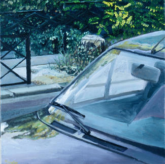 Windshield - Marc GOLDSTAIN 2003 - Oil On Canvas - Car - Urban Landscape - Reflect - Shrub - Wasteland - Paris Leblanc - Realistic Painting - Contemporary Painting