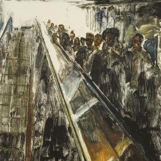 Descending 2 Monotype - 28x20cm - Marc GOLDSTAIN 2009 - Oil On Japonese Paper - Paris Subway - Passengers On Escalator - Rer - Chatelet - Comtemporary