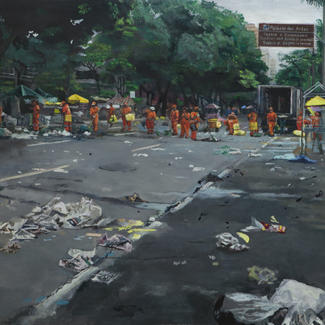 Cleaners Battlefield Belo Horizonte - 89x116cm - Marc GOLDSTAIN 2013 - Oil On Canvas - Brasil Cityscape - Street Cleaners - Market - Cultural Center