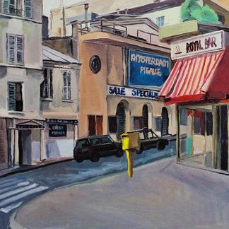 Barbes Royal Bar - Marc GOLDSTAIN 1992 1993 - Oil On Wood - Paris - Urban Landscape