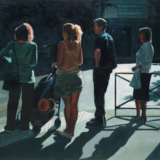 Convention Iv - 97x130cm - Marc GOLDSTAIN 2007 - Oil On Canvas - Pedestrians Crossing - Passers - By Shadow - Realistic Painting - Contemporary Art