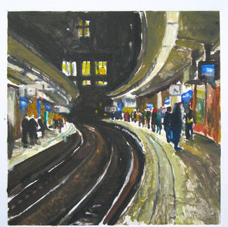 Cite U Paris 1 Monotype - 20x20cm - Marc GOLDSTAIN 2014 - Oil On Paper - Metro Station - Urban Landscape