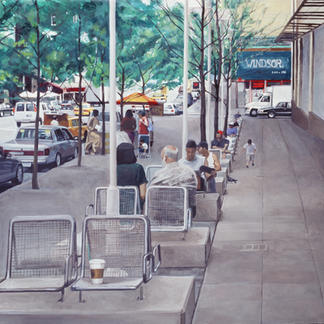 Second Avenue Sixtieth Street - 150x150cm - Marc GOLDSTAIN 2003 - Oil On Canvas - New York - Manhattan - Passer By - Urban Landscape - Sidewalk - Public Benches - Realistic Painting - Contemporary Painting