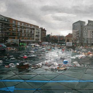 Graals Open Air Market - 160x200cm - Marc GOLDSTAIN 2010 - Oil On Canvas - Vitry - Waste - Plastics Bags - Urban Landscape - Architecture - Chemetoff - Contemporary Painting