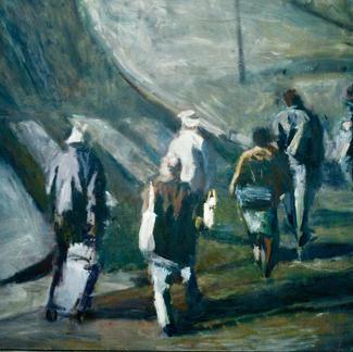 Six Big Passer By - Marc GOLDSTAIN 1995 1996 - Oil On Canvas - Paris - Faubourg - Du Temple Street - 200X200Cm