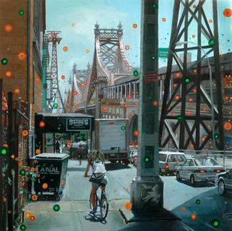 Biker By Queensborough Bridge - 100x100cm - Marc GOLDSTAIN 2007 - Oil On Canvas - Orange Dots - Cars - Urban Landscape - New York - Contemporary Painting