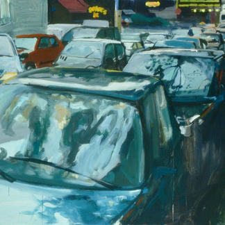 Traffic Jam Rue De Lyon Rainy Day Cars Paris - 97x130cm - Marc GOLDSTAIN 2002 - Acrylic On Canvas - Urban Landscape - Realistic Painting - Contemporary Art