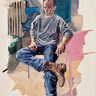Henry With Crossed Legs - Marc GOLDSTAIN 1992 1993 - Oil On Wood - Portrait