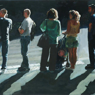 Convention Vi - 50x100cm - Marc GOLDSTAIN 2006 - Oil On Canvas - Passers - By Shadow - Pedestrians Crossing - Realistic Painting - Contemporary Art