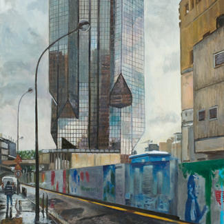 A Kind Of Diamond - 11x89cm - Marc GOLDSTAIN 2011 - Oil On Canvas - Beaugrenelle - Paris - Glass Tower - Urban Landscape - Architecture - Worksite - Contemporary Painting