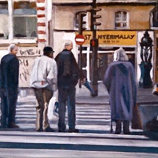Pedestrians Waiting To Cross - Marc GOLDSTAIN 2000 - Oil On Canvas - Paris - Rue Lafayette - Urban Landscape - Contemporary Art - Realistic Painting