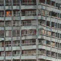 Urban Monad 12 17 Floors - 38x46cm - Marc GOLDSTAIN 2012 - Acrylic On Canvas - Tower - Cityscape - Paris - Realistic Painting - French Art