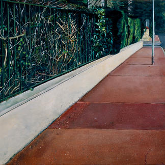 Red Sidewalk And Brush - 97x146cm - Marc GOLDSTAIN 2004 - Oil On Canvas - Paris Suburb - Urban Landscape - Contemporary Painting