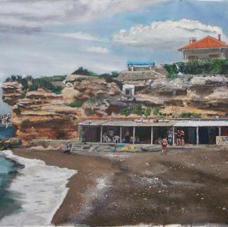 Pregnant Chez Dede - 89x116cm - Marc GOLDSTAIN 2012 - Oil On Canvas - Seascape - Calanque - Marseille - Baraques - Mediterranean Life - Contemporary Painting