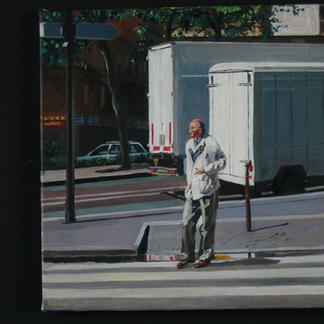 White Pedestrian Balard - 50x50cm - Marc GOLDSTAIN 2005 - Oil On Canvas - Paris - Urban Landscape - White Trucks - Comtemporary Painting
