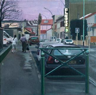 Fleurs - 50x50cm - Marc GOLDSTAIN 2005 - Oil On Canvas - Pedestrians - Paris Suburbs - Urban Landscape - Car - Violet Sky - Dawn - Flowers - Comtemporary Painting